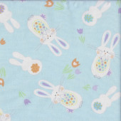 Easter Bouncing Bunny Rabbits on Pastel Blue Spring Parade Quilting Fabric