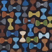 Funky Bow Ties on Black Mens Quilt Fabric