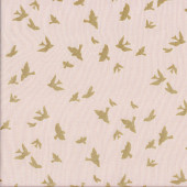 Brambleberry Ridge Metallic Gold Birds Quilting Fabric