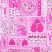 Pink Ribbon Breast Cancer Love Hearts Quilt Fabric