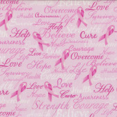 Pink Ribbon Breast Cancer Cure Believe Courage Quilting Fabric