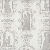 Bride and Groom Silhouettes Quilting Fabric