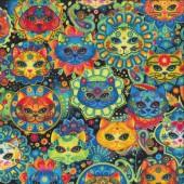 Bright Colourful Cats Sugar Skulls Quilting Fabric
