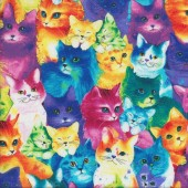 Bright Painted Cats Quilting Fabric