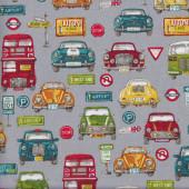 Cars Bus Mini Volkswagen Road Signs fabric