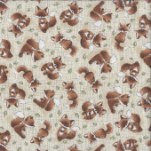 Cute Brown and White Foxes Animal Quilting Fabric