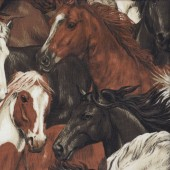 Brown Grey White Horses Quilting Fabric