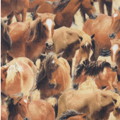 Brown Horses Pastures Quilting Fabric
