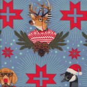 Christmas Animals Pine Cones Dog Goose Buck on Blue Quilting Fabric