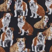 Bulldogs on Black Dogs Pet Quilting Fabric