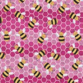 Bumblebees on Pink Bees Insect Honeycomb Kids Girls Quilt Fabric