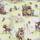 Deer Bears Foxes Racoons Bunnies By The Bay Quilting Fabric