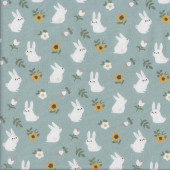 Bunny Rabbits and Sunflowers on Sage Green Quilting Fabric