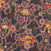 Australian Aboriginal Burrambin Animals Quilting fabric