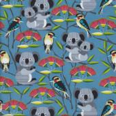 Koalas Kookaburras Flowers on Blue Bush Buddies Quilting Fabric