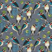Kookaburras on Grey Bush Buddies Quilting Fabric