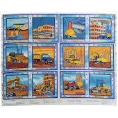 Busy Builders Construction Steamroller Excavator Truck Quilting Fabric Book Panel