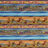 Busy Builders Construction Trucks Bulldozers Kids Border Quilting Fabric