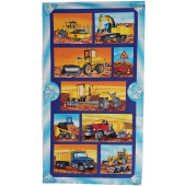 Busy Builders Construction Machinery Cement Truck Quilting Fabric Panel