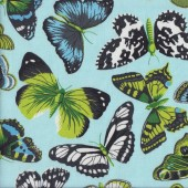 Beautiful Green White Butterflies on Blue Insects Quilting Fabric