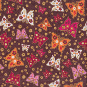 Pretty Butterflies and Flowers on Brown Quilting Fabric