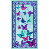 Beautiful Butterflies Pebbles Crystals Butterfly Quilting Fabric Panel