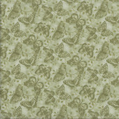 Butterflies Tonal Green Quilting Fabric