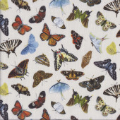 Beautiful Butterflies on Cream Insect Quilting Fabric