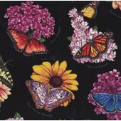 Butterflies on Black Flowers Butterfly Garden Quilting Fabric