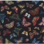 Butterflies on Black Insect Butterfly Garden Quilting Fabric