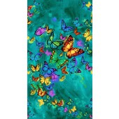 Colourful Butterflies on Green Butterfly Pavilion Quilting Fabric Panel