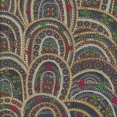 Australian Indigenous Aboriginal Butterfly Rebirth Green by Heather Kennedy Quilting Fabric
