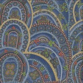 Australian Indigenous Aboriginal Butterfly Rebirth Blue by Heather Kennedy Quilting Fabric