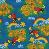 Buzzy Bees Rainbows Sunflowers New Zealand Kids NZ Quilt Fabric