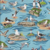 Puffins Seagulls Albatross By The Sea Ocean Quilting Fabric