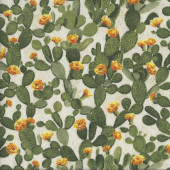 Green Cacti with Yellow Flowers Cactus Plant Quilting Fabric