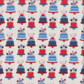Birthday Cakes Celebration Red Blue Stars on White Quilting Fabric