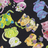 Colourful Happy Calico Cats on Black Loralie Designs Quilting Fabric