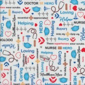 Calling All Nurses Caring Words on White Masks Quilting Fabric