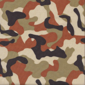 Army Camouflage Brown Burnt Orange Tan quilting Fabric