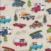 Camper Caravan Campervan Convertible Road Trip Beige Quilting Fabric