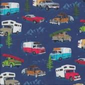 Camper Caravan Campervan Convertible Road Trip Blue Quilting Fabric
