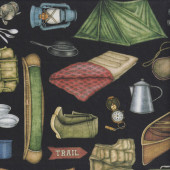 Camping Outdoors Tent Black Quilting Fabric