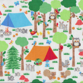 Camping Club Black Quilting Fabric