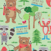 Camping Club Green Quilting Fabric