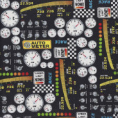 Car Racing Tacometers Tachometers Taco Sports Mens on Black Quilting Fabric