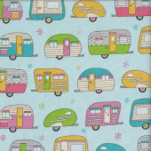 Caravans with Metallic Silver Blue Quilting Fabric
