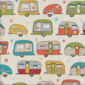 Caravans with Metallic Silver on Cream Quilting Fabric