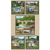 Retro Caravans Vintage Trailer Camping Holidays Quilting Fabric Panel