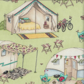 Caravans Tents Teepees on Green Roam Quilting Fabric